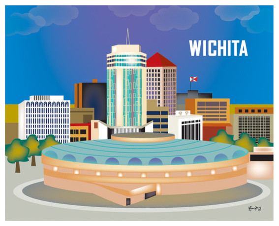 Wichita kansas horizontal skyline print modern home decor by loose petals llc Home bar furniture wichita ks