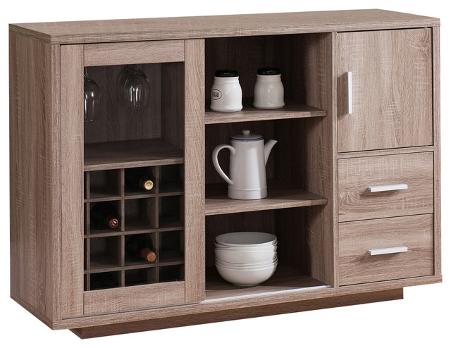 Keats Contemporary Dining Buffet and Wine Cabinet, Light Oak - Modern - Wine And Bar Cabinets ...