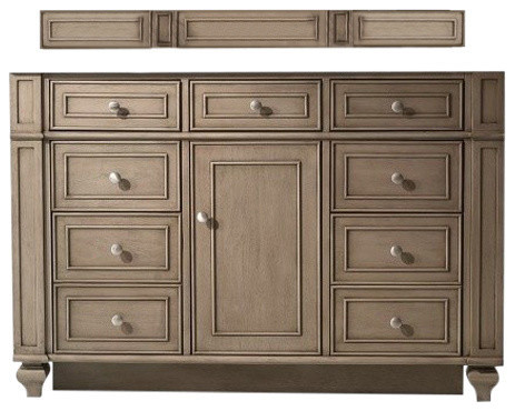 """48"""" Bristol Single Sink Cabinet Only With Outut Top, White Wash Walnut."""