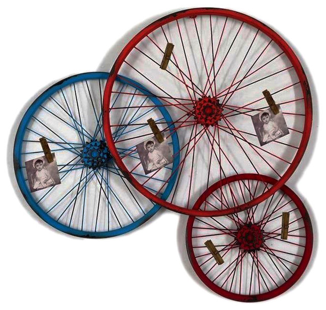 Triple bike wheel wall art with clips modern game room for Bicycle wheel wall art