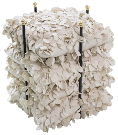 Open Square Pillow Holder Rack, Gold Stacking Organizer Shelf Quilt Linen.