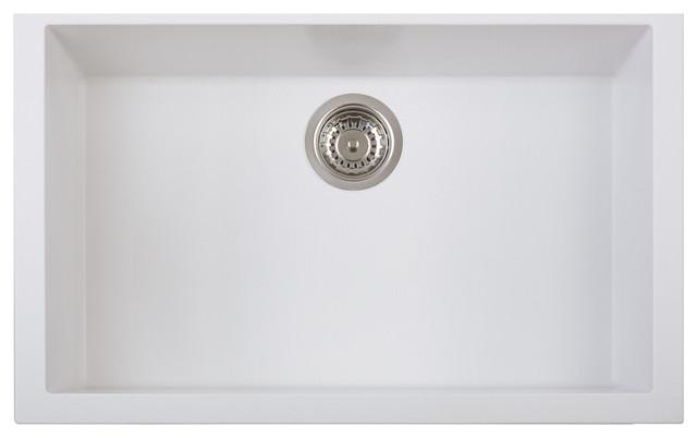 One Series Single Basin Drop-In Sink, Milk White.