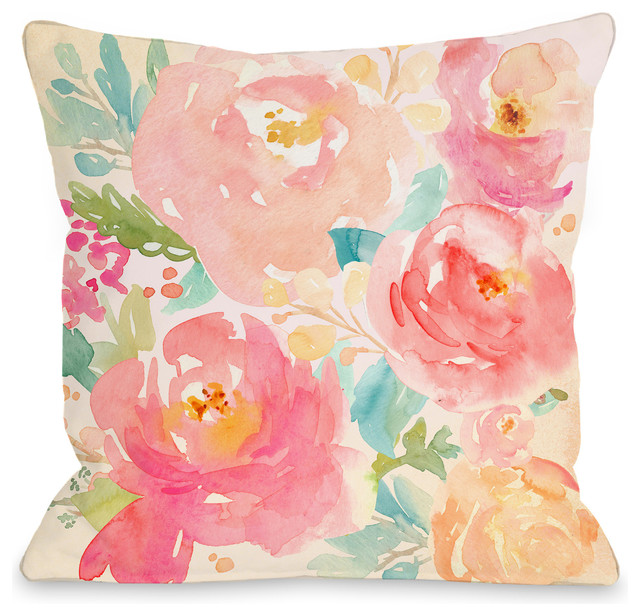 """popping Peonies"" Indoor Throw Pillow By Onebellacasa, 18""x18""."