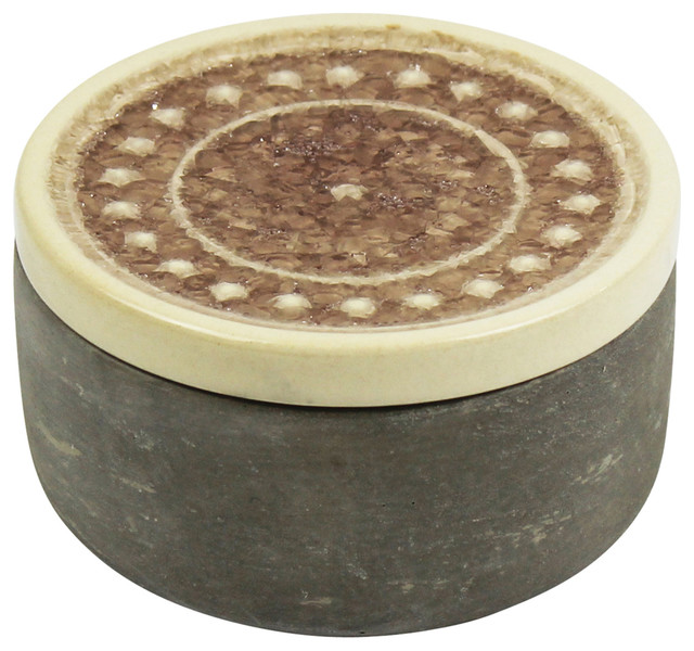 Sagebrook Home Round Cement Box, Rose Glazed Lid 3.75""