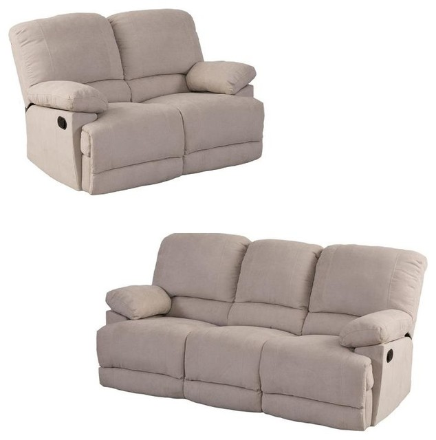 Lea 2 Piece Sofa Set With Reclining Loveseat And Sofa In Beige    Transitional   Living Room Furniture Sets   By Homesquare