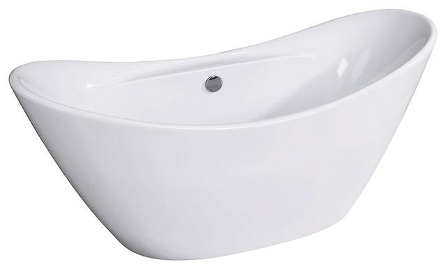 "Kingston Brass Aqua Eden Freestanding Double Slipper Acrylic Bathtub, 68""."