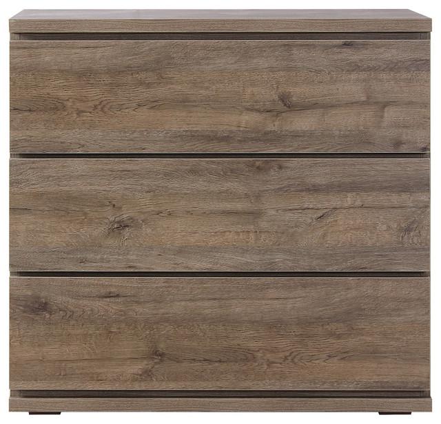 Scandi Oak Bedside Table, 3 Drawers