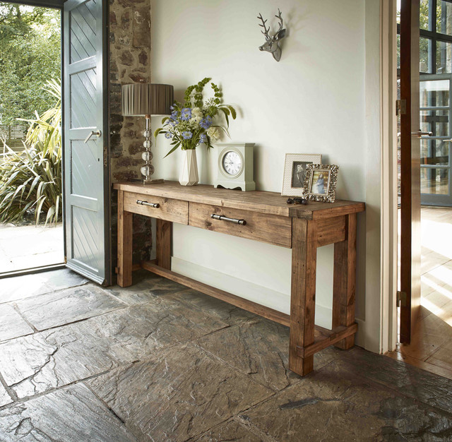 Country Reclaimed Solid Wood Farmhouse Console Table - Rustic