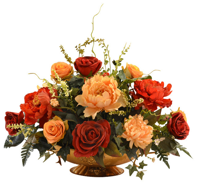 Floral Home Decor  Rose and Peony Large Silk Flower Centerpiece  View in Your Room!  Houzz