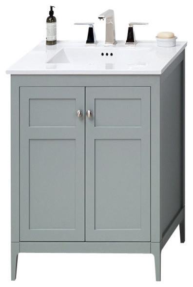 vanity cabinet and sink. Ronbow Briella Solid Wood 24  Vanity Cabinet Base Ocean Gray transitional bathroom