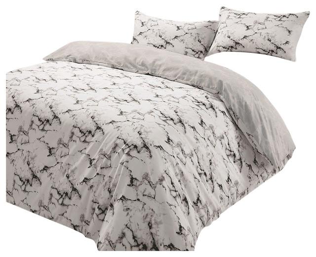 Marble Edge Duvet Cover With Pillowcase Reversible Bedding Set, Grey, King