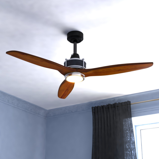 Curtiss 52 In Black And Silver Outdoor Wood Ceiling Fan Led Light Kit Remote Transitional Ceiling Fans By Hedgeapple Houzz