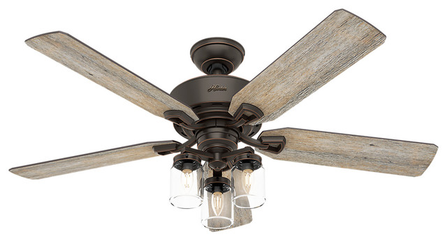 "Devon Park Onyx Bengal Ceiling Fan With Light And Remote Control, 52""."