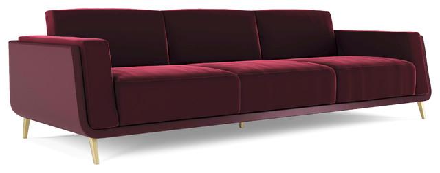 Bogart 3 Seater Maroon Sofa Midcentury Sofas