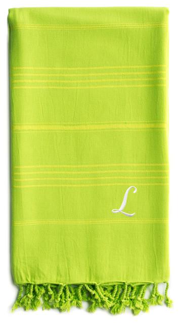 Personalized Summer Beach Pestemal Towel, Pistachio, White Font, L.