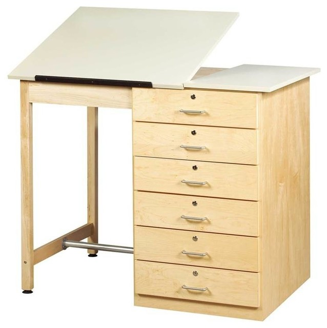 Art Drafting Table With Locking Drawer.