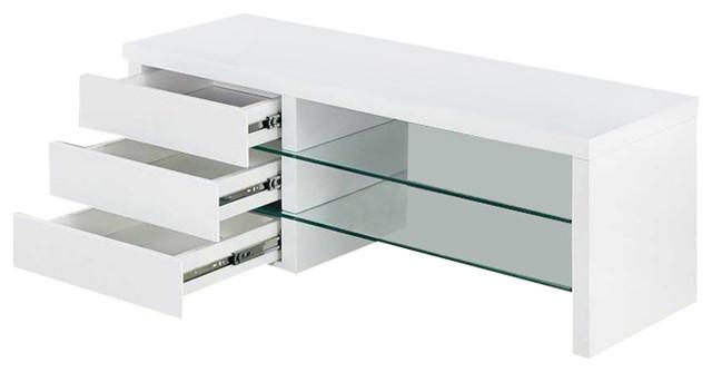 Samba White High Gloss Modern Glass Shelves TV Stand