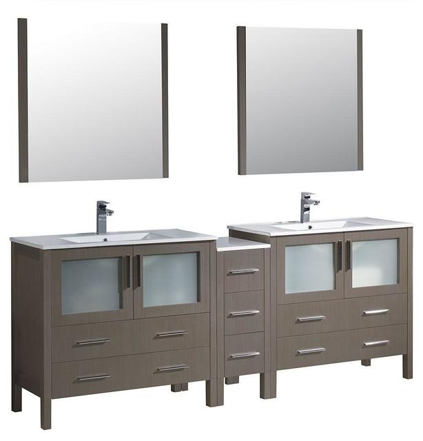 """Fresca Torino 84"""" Gray Oak Modern Double Sink Bathroom Vanity."""