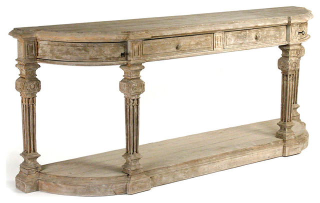 French Console Table rockford french country heavy distress hand carved long console