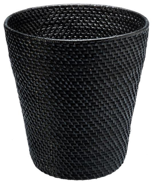 Round Rattan Waste Basket In Black