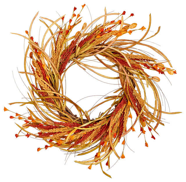 22 Fall Grass And Flower Wreath.