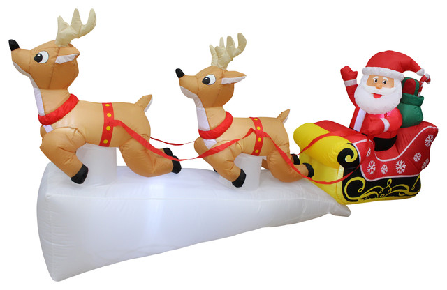Delightful Christmas Inflatable Santa Claus Reindeer Sleigh Yard Decoration,8u0027  Contemporary Outdoor Holiday