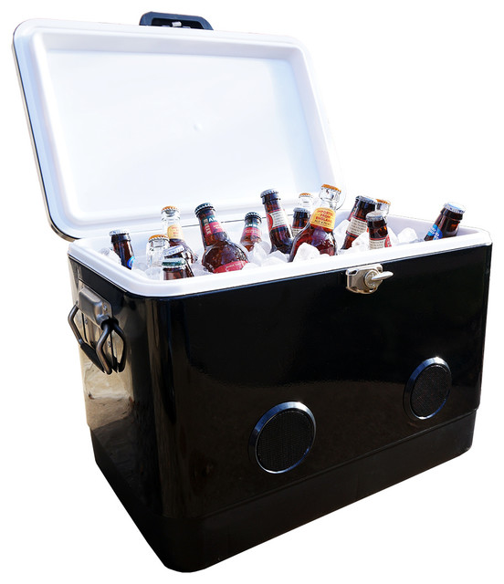 Party Cooler With Bluetooth Speakers Black Modern