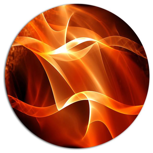Orange Abstract Fractal Waves Disc Metal Wall Art 11