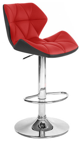 Spyder Contemporary Adjule Bar Stool Black Red