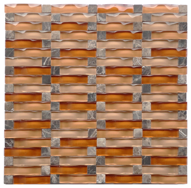 12x12 Ripple Series Copper Blend Stitch Backsplash Glass Mosaic