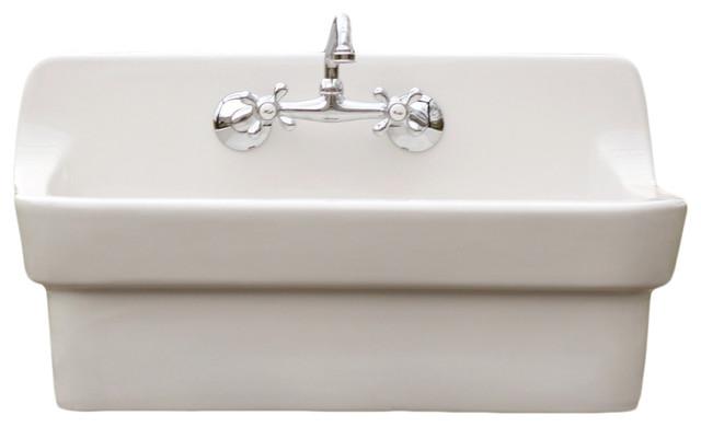 White Vintage Style High Back Farm Sink American Standard Apron Utility Sink Farmhouse Utility Sinks By Watermarkfixtures Llc