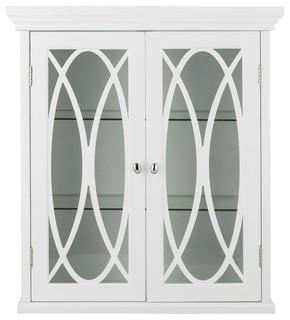 Glass Double Doors Wall Mounted Bathroom Storage Cabinet
