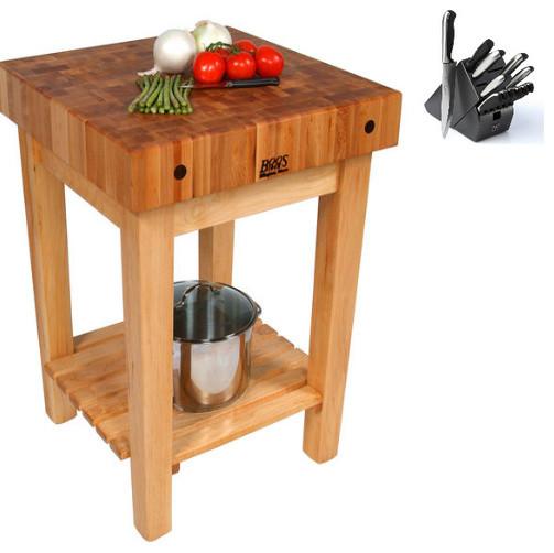John Boos GB Butcher Block 24x24 Table And Henckels 13 Piece Knife Block  Set Contemporary