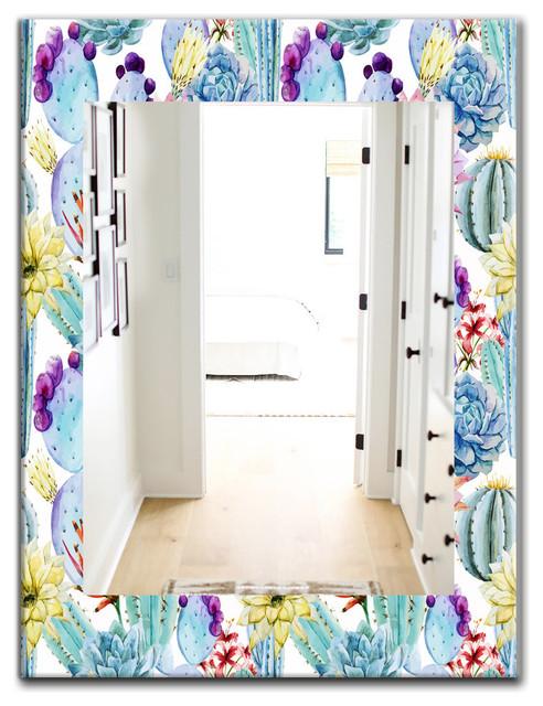 Designart Blossoming Cactus Tropical Flower Bohemian Frameless Vanity Mirror Southwestern Bathroom Mirrors By Design Art Usa