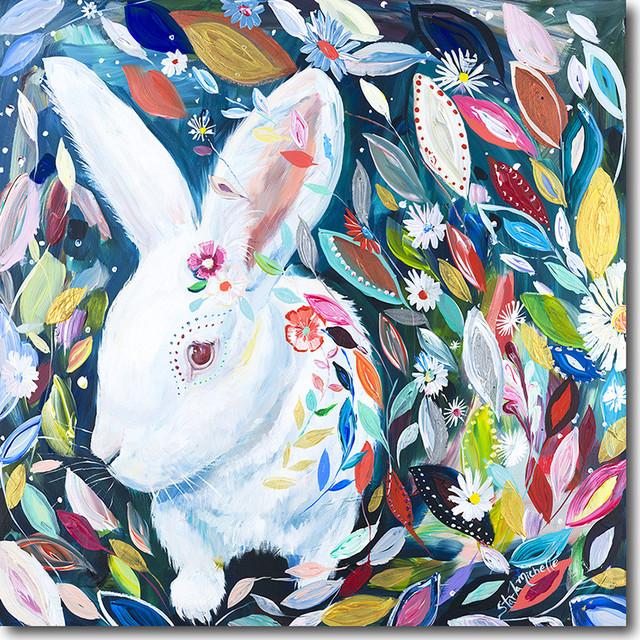 """""""bunny In Wonderland"""" Artwork By Starla Michelle Halfmann, 30""""x30""""."""