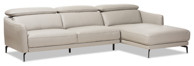 Paige Modern Light Gray Leather Right Facing Chaise 2-Piece Sectional Sofa.