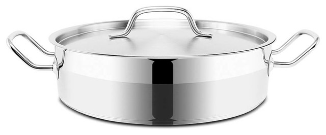 Optima Stainless Steel Brazier Pot With Lid, 32 cm