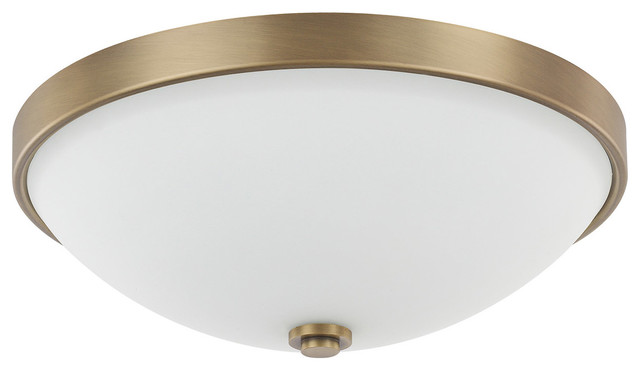 Signature 2-Light Flush Mounts, Aged Brass.