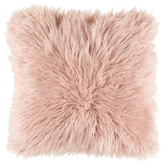 "Rebbeca Animal Down Filled Accent Pillow Blush 18""x18""x4""."
