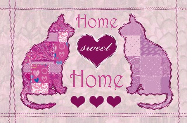 Home Sweet Home Cat Gallery Door Mat, Large