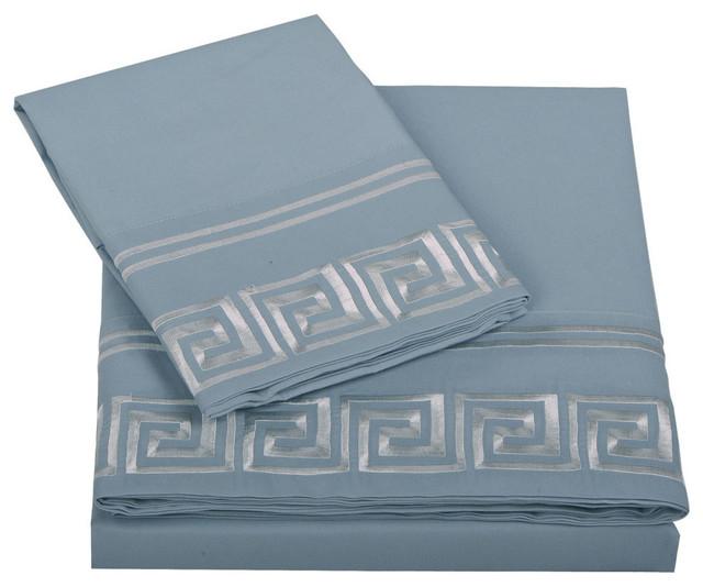 Serenta Greek Key Embroidered Microfiber 4 Piece Bed Sheet Set, Blue, Full