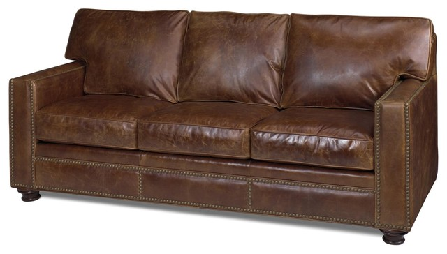Leather sofa classic nailhead wood sofas by euroluxhome for Traditional leather furniture