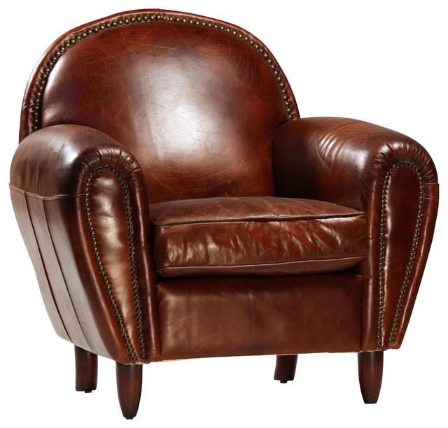 Gentil Brown Leather Club Chair