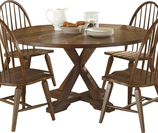 liberty furniture hearthstone 60 inch round drop leaf dining table in oak mediu farmhouse. Black Bedroom Furniture Sets. Home Design Ideas