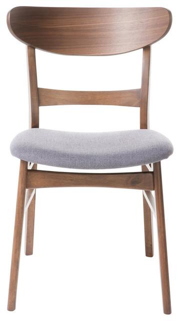Helen Mid Century Modern Dining Chairs Dark Gray Walnut Set Of 2
