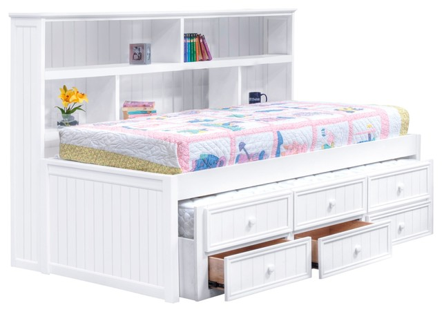 natasha twin size bookcase combo captain 39 s bed white contemporary kids beds by totally. Black Bedroom Furniture Sets. Home Design Ideas