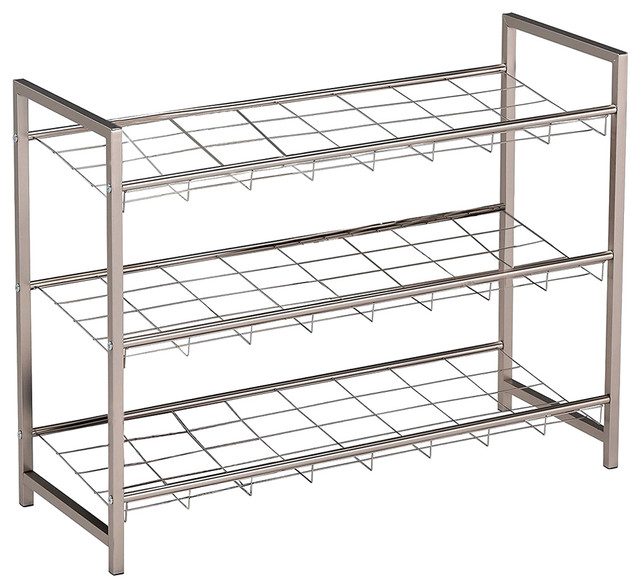 Chrome Metal 3 Tier Shelf Modern Shoe Rack Organizer Display & Hallway Bench.