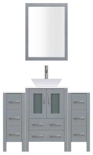 48 Modern Bathroom Vanity Set, Mirror And Sink Lv2-C4-48-G, Gray.