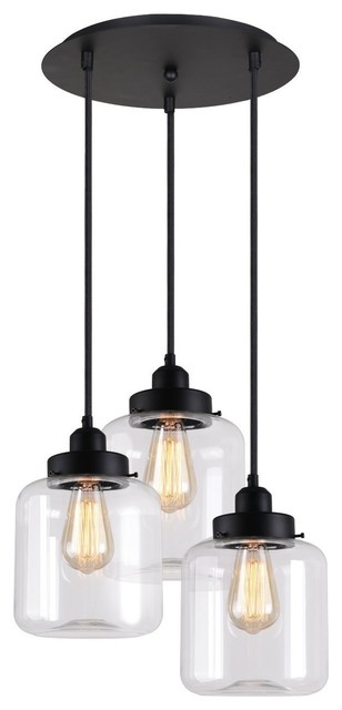 Murphy 3-Light Glass Jar Pendant.