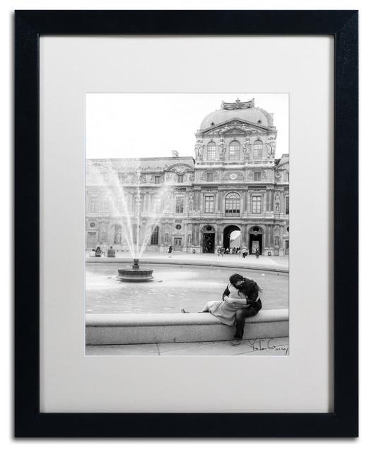 """paris Kiss"" Framed Art By Yale Gurney, Black, White, 16""x20""."